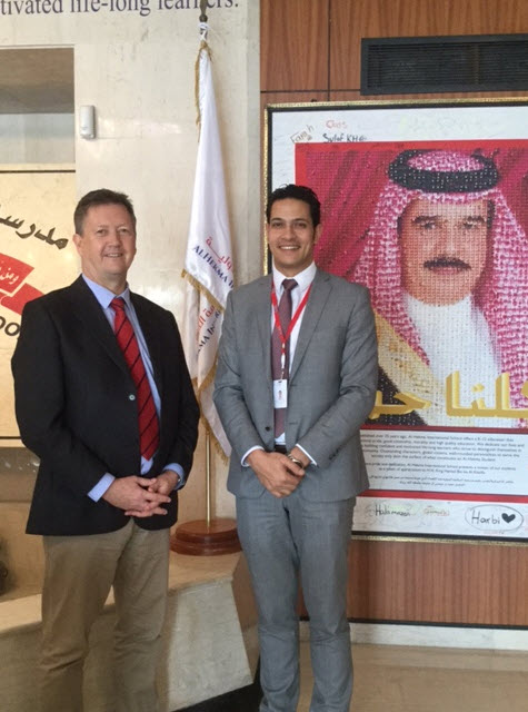 Bill Turner (L) at Al Hekma International School with Ismail Sabry, Development Coordinator
