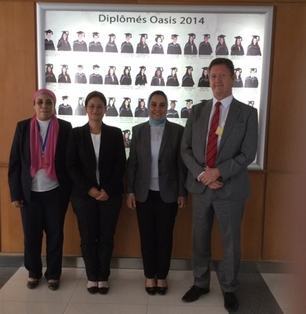 From Left: Fatma, Nevine Refaat, and Principal Esmat Lamei with Bill Turner at École Oasis Internationale