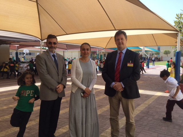 Bill (R) with Dr. Kamal Abdel-Nour (President) and Ka'eb Sulaiman Algosaibi (HR Director) at Ibn Khuldoon National School, Bahrain
