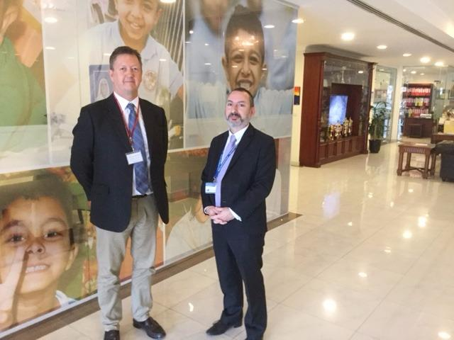 Bill with Ian Gross, Principal at Hawar International School, Bahrain