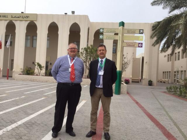 Bill (R) with Dr. Randy Refsland, Director General, Bahrain Bayan School