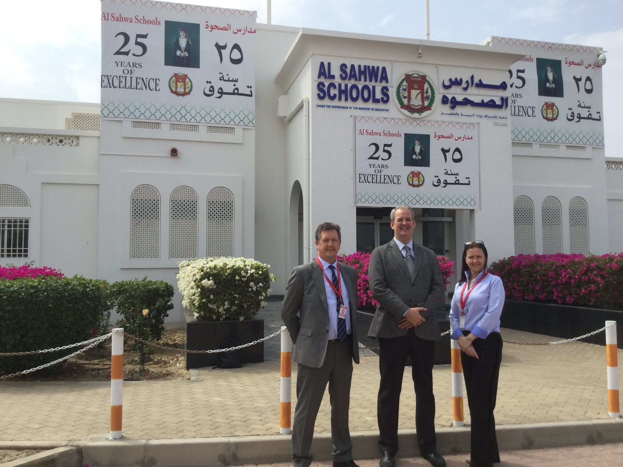 Bill Turner (L) and Alison Turner meet with Dr. Peter Coles, Director at Al Sahwa Schools