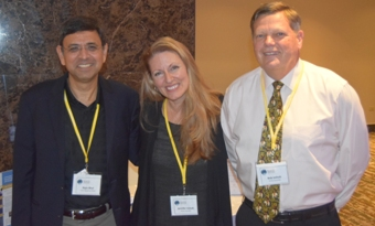 From left: Rajiv Bhat, Jennifer and Bob Imholt