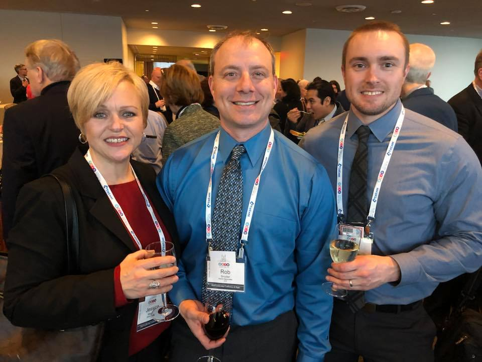 President Jessica Magagna, Webmaster Rob Snyder, and Project Manager Gavin Hawk enjoy the Welcome Reception in the UN Building, hosted by Search Associates
