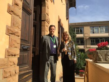 Bill with Sarah Gallagher, Headmistress Marymount Int. School, Rome