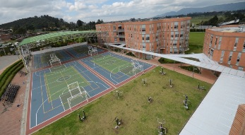 Four hard courts for PE & sports, 11 outdoor work out machines, and MS & HS buildings with rooftop solar panels