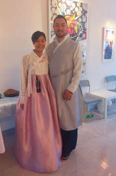 Sujin and Brian in Korean traditional outfits (hanbok)