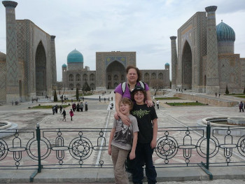 Gita and her sons, back then, in front of the Registan in Uzbekistan